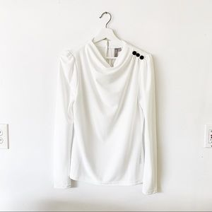 NWT ASOS White Drape / Cowl Neck Long Sleeve